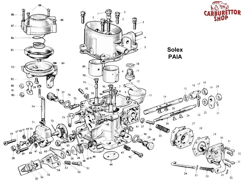 solex paia carburetor parts rh ricambicarburatori com 16 32 Drum Sander Ryobi Drum Sander 16 32