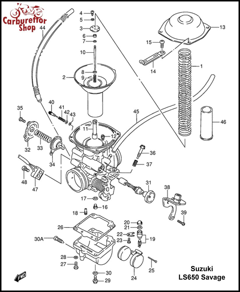 Suzuki LS 650 Carburetor Spare Parts Rebuild Kits and Service Sets