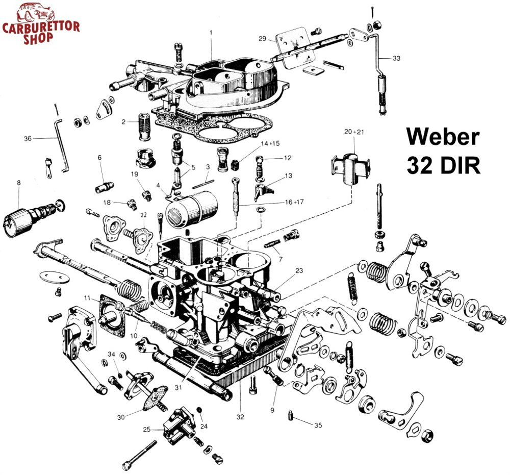 weber carb parts diagram